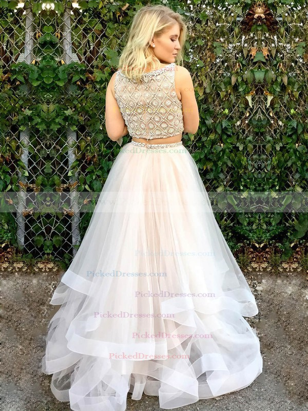 Princess Scoop Neck Floor-length Tulle Beading Prom Dresses #PDS020106086