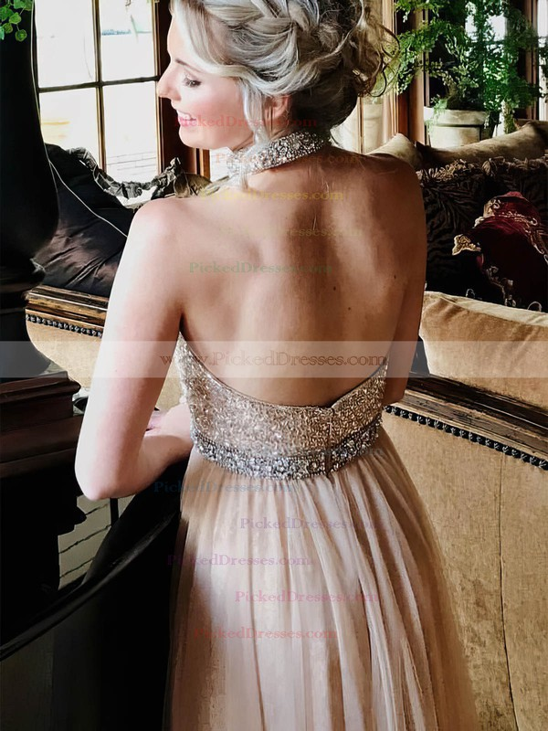 A-line High Neck Floor-length Tulle Beading Prom Dresses #PDS020106092