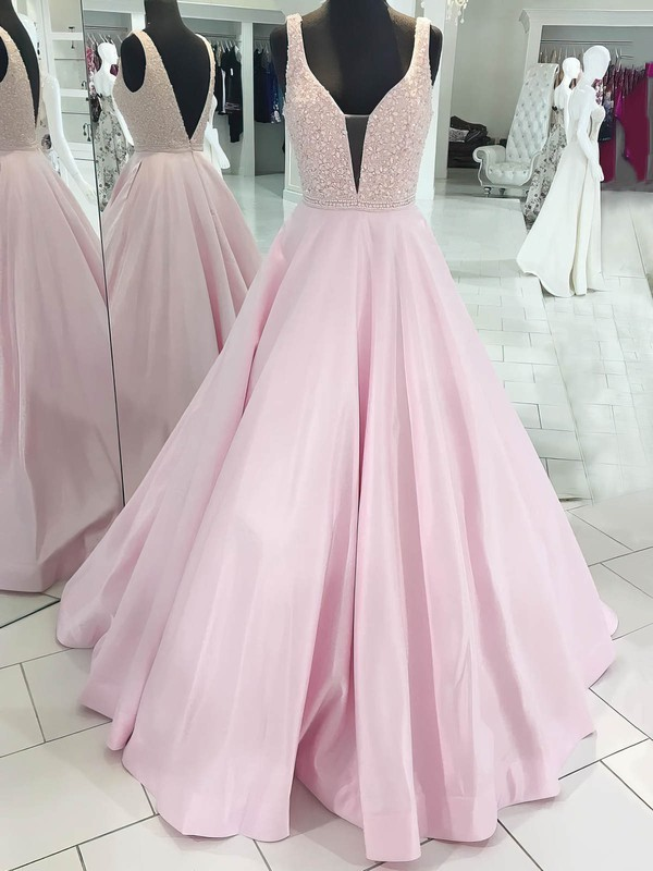 Ball Gown V-neck Floor-length Satin Beading Prom Dresses #PDS020106096