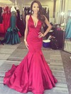 Trumpet/Mermaid V-neck Sweep Train Ruffles Prom Dresses #PDS020106101