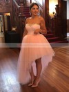 Ball Gown Sweetheart Asymmetrical Tulle Beading Prom Dresses #PDS020106106