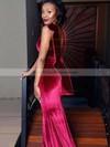 Trumpet/Mermaid Scoop Neck Sweep Train Velvet Prom Dresses #PDS020106107