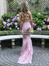 Trumpet/Mermaid Halter Sweep Train Jersey Prom Dresses #PDS020106109
