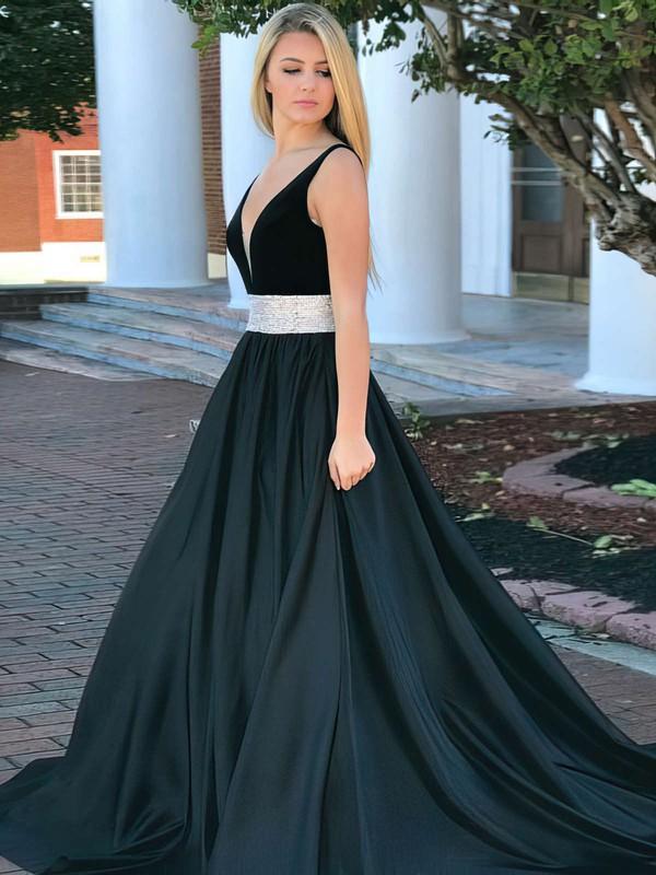 Ball Gown V-neck Sweep Train Satin Beading Prom Dresses #PDS020106110