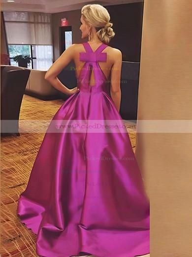 A-line V-neck Floor-length Bow Satin Prom Dresses #PDS020106112