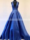 A-line V-neck Floor-length Bow Satin Prom Dresses #PDS020106112