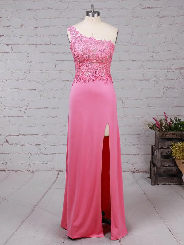 Sheath/Column One Shoulder Floor-length Tulle Jersey Beading Prom Dresses #PDS020105041
