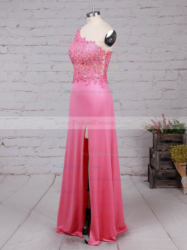 Sheath/Column One Shoulder Floor-length Tulle Jersey Beading Prom Dresses #PDS020105041