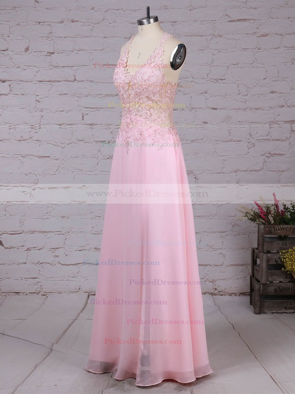 A-line V-neck Floor-length Tulle Chiffon Appliques Lace Prom Dresses #PDS020105116