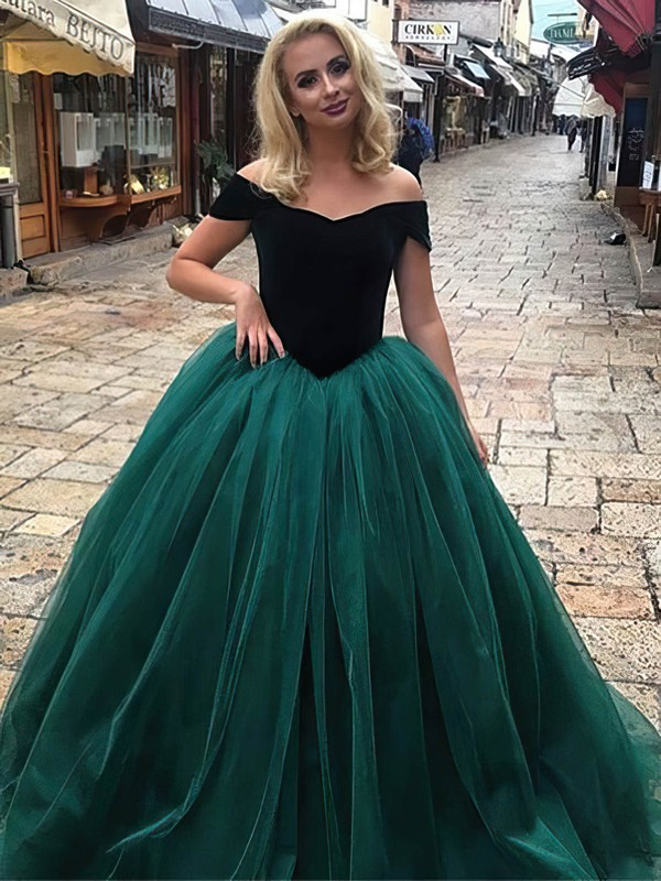 Ball Gown Off-the-shoulder Floor-length Tulle Velvet Prom Dresses #PDS020106117