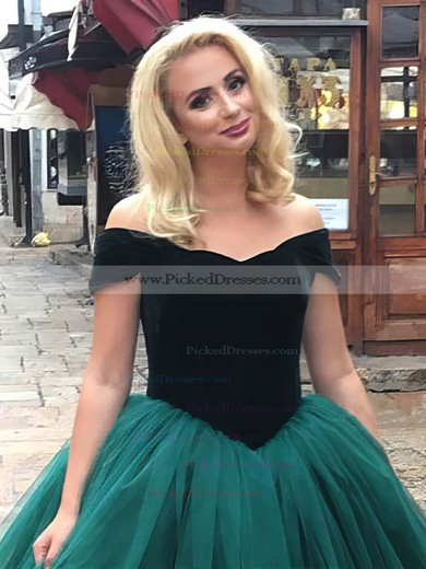 Ball Gown Off-the-shoulder Floor-length Tulle Velvet Prom Dresses #PDS020106117