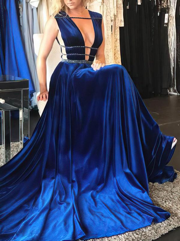 A-line V-neck Sweep Train Velvet Beading Prom Dresses #PDS020106122