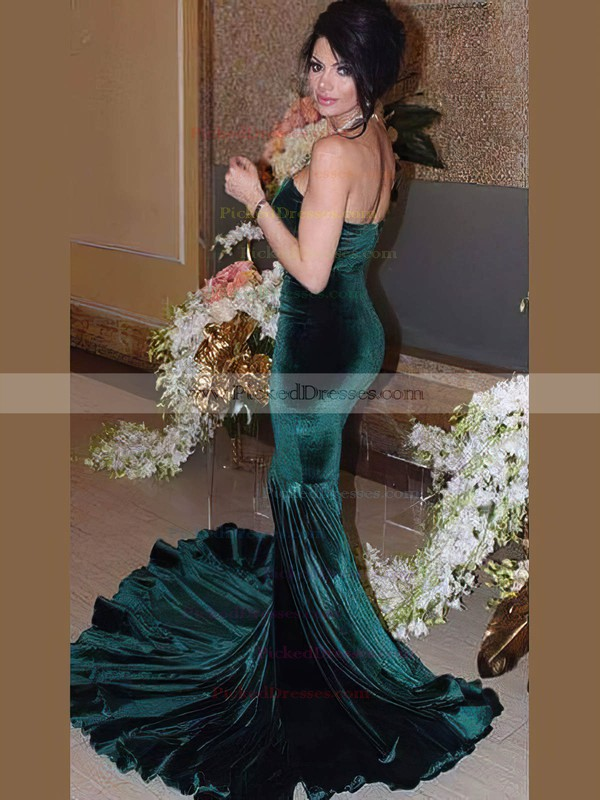 Trumpet/Mermaid Sweetheart Sweep Train Velvet Prom Dresses #PDS020106124