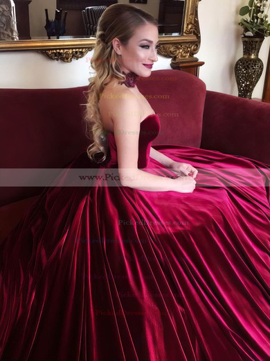 Ball Gown Sweetheart Court Train Velvet Prom Dresses #PDS020106125