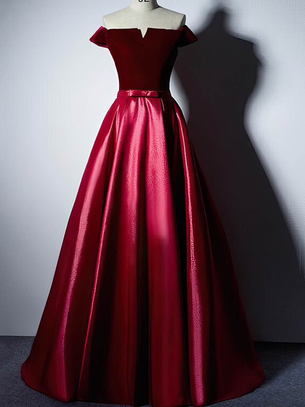 Ball Gown Off-the-shoulder Floor-length Satin Velvet Prom Dresses #PDS020106129