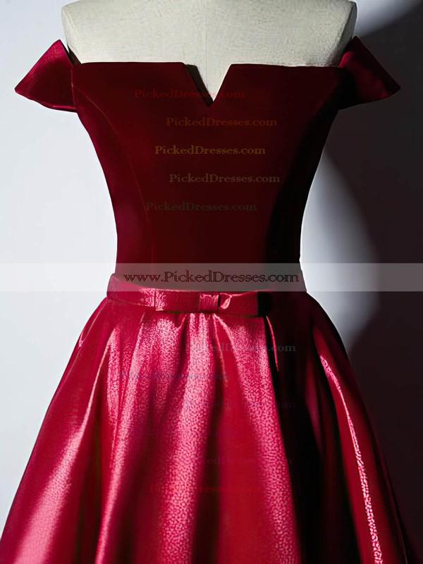 Ball Gown Off-the-shoulder Floor-length Satin Velvet Prom Dresses #PDS020106129