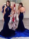 Trumpet/Mermaid Halter Sweep Train Velvet Prom Dresses #PDS020106133