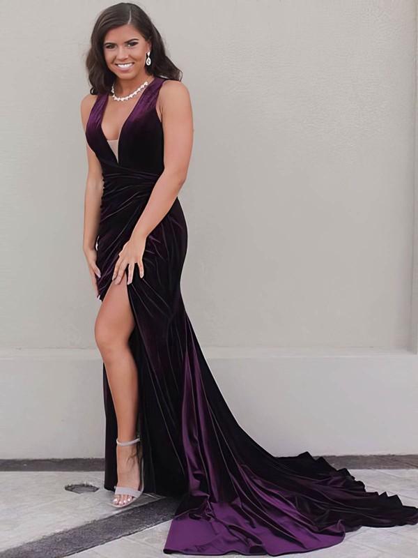 Trumpet/Mermaid V-neck Sweep Train Velvet Split Front Prom Dresses #PDS020106142