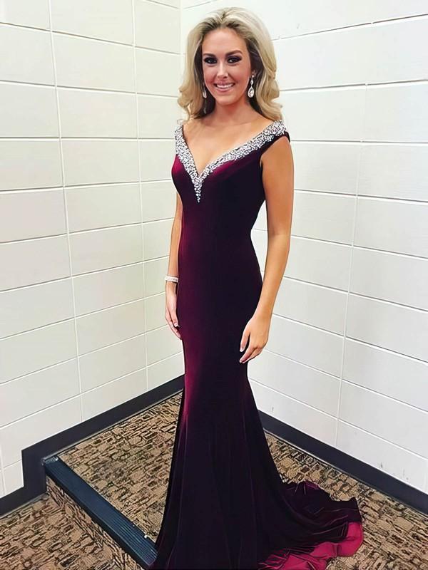 Trumpet/Mermaid V-neck Sweep Train Velvet Beading Prom Dresses #PDS020106144