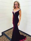 Trumpet/Mermaid V-neck Sweep Train Velvet Beading Prom Dresses #PDS020106144