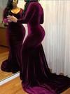 Trumpet/Mermaid V-neck Sweep Train Velvet Prom Dresses #PDS020106145
