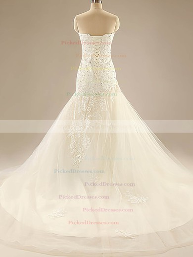 Sweetheart Ivory Tulle Beading Sashes/Ribbons Court Train Wedding Dresses #PDS00020525