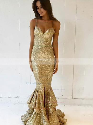 Trumpet/Mermaid V-neck Floor-length Sequined Split Front Prom Dresses #PDS020106165