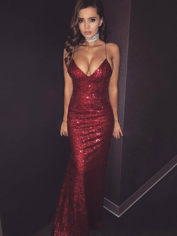 Sheath/Column V-neck Floor-length Sequined Prom Dresses #PDS020106166