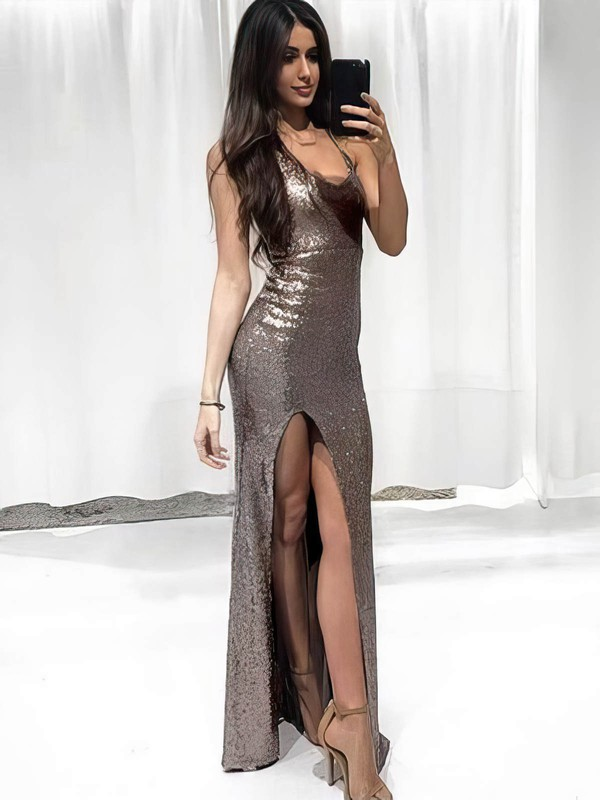 Sheath/Column V-neck Floor-length Sequined Split Front Prom Dresses #PDS020106167