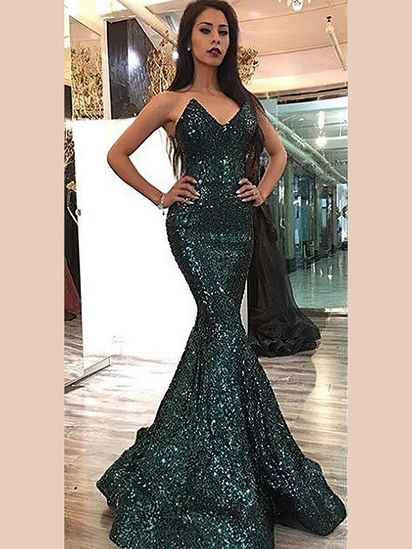 Trumpet/Mermaid V-neck Floor-length Sequined Prom Dresses #PDS020106175