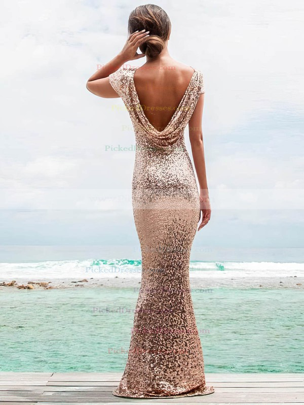 Sheath/Column Scoop Neck Floor-length Sequined Prom Dresses #PDS020106178