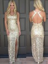 Sheath/Column V-neck Ankle-length Sequined Split Front Prom Dresses #PDS020106179