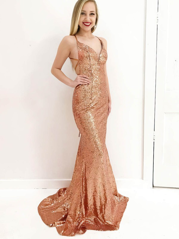 Trumpet/Mermaid V-neck Sweep Train Sequined Prom Dresses #PDS020106182