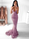 Trumpet/Mermaid V-neck Sweep Train Sequined Prom Dresses #PDS020106203
