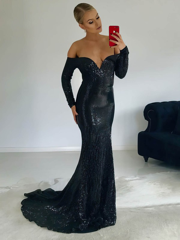 Trumpet/Mermaid Off-the-shoulder Sweep Train Sequined Prom Dresses #PDS020106204