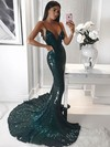 Trumpet/Mermaid V-neck Sweep Train Sequined Prom Dresses #PDS020106206