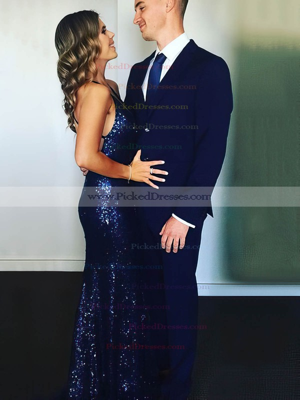 Trumpet/Mermaid V-neck Sweep Train Sequined Prom Dresses #PDS020106208