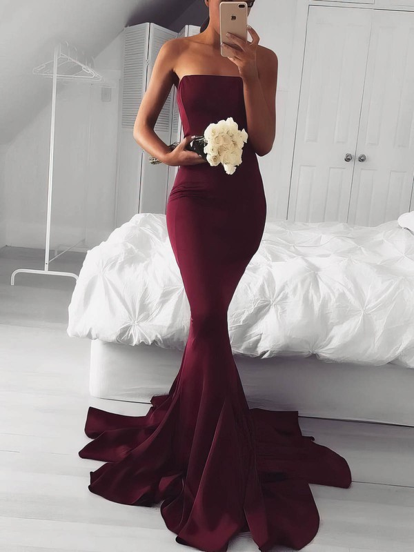 Trumpet/Mermaid Strapless Sweep Train Jersey Prom Dresses #PDS020106219