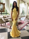 Trumpet/Mermaid Scoop Neck Sweep Train Jersey Prom Dresses #PDS020106222
