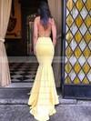 Trumpet/Mermaid Scoop Neck Sweep Train Jersey Prom Dresses #PDS020106222