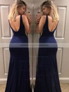 Trumpet/Mermaid V-neck Sweep Train Jersey Split Front Prom Dresses #PDS020106223
