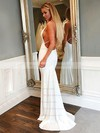 Trumpet/Mermaid V-neck Sweep Train Jersey Prom Dresses #PDS020106227