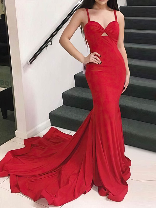 Red Trumpet/Mermaid Sweetheart Sweep Train Jersey Prom Dresses #PDS020106228
