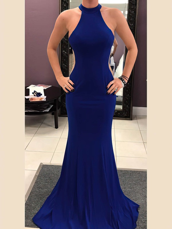 Trumpet/Mermaid Scoop Neck Sweep Train Jersey Prom Dresses #PDS020106240