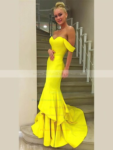 Trumpet/Mermaid Off-the-shoulder Sweep Train Jersey Cascading Ruffles Prom Dresses #PDS020106242