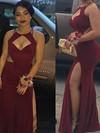 Sheath/Column Scoop Neck Floor-length Jersey Split Front Prom Dresses #PDS020106248