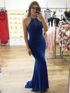 Sheath/Column Scoop Neck Sweep Train Tulle Jersey Beading Prom Dresses #PDS020106250