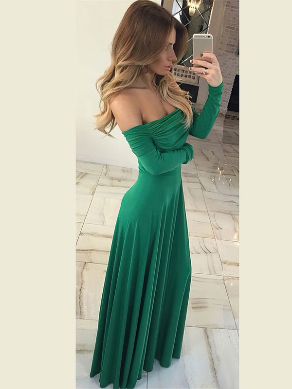 Sheath/Column Off-the-shoulder Floor-length Jersey Ruffles Prom Dresses #PDS020106260