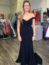 Trumpet/Mermaid Off-the-shoulder Sweep Train Jersey Prom Dresses #PDS020106261