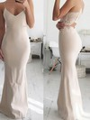 Sheath/Column V-neck Floor-length Jersey Lace Prom Dresses #PDS020106263